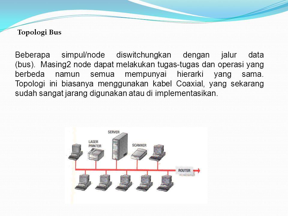 Topologi Bus Beberapa simpul/node diswitchungkan dengan jalur data (bus). Masing2 node dapat melakukan tugas-tugas dan operasi yang berbeda namun semu