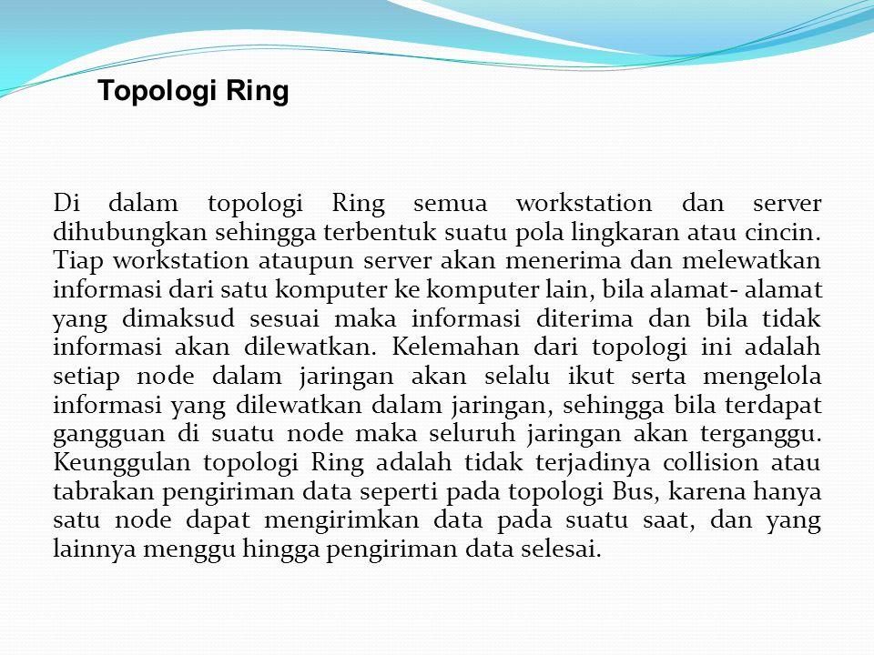 Di dalam topologi Ring semua workstation dan server dihubungkan sehingga terbentuk suatu pola lingkaran atau cincin. Tiap workstation ataupun server a