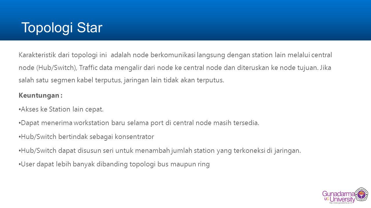 Topologi Star Karakteristik dari topologi ini adalah node berkomunikasi langsung dengan station lain melalui central node (Hub/Switch), Traffic data m