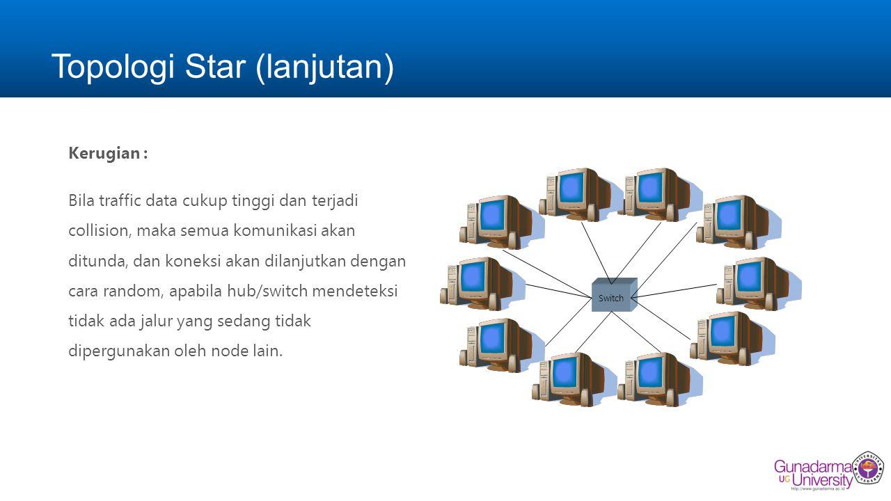 Topologi Star (lanjutan) Kerugian : Bila traffic data cukup tinggi dan terjadi collision, maka semua komunikasi akan ditunda, dan koneksi akan dilanjutkan dengan cara random, apabila hub/switch mendeteksi tidak ada jalur yang sedang tidak dipergunakan oleh node lain.