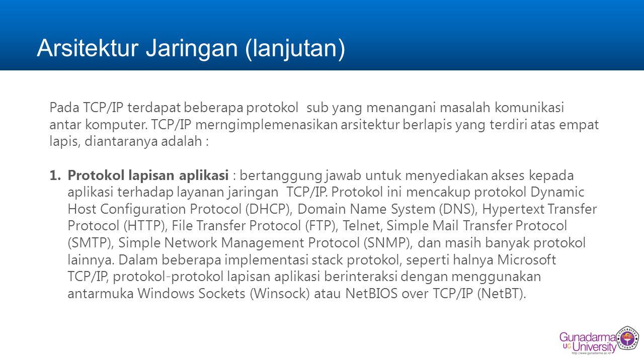 Arsitektur Jaringan (lanjutan) Pada TCP/IP terdapat beberapa protokol sub yang menangani masalah komunikasi antar komputer.