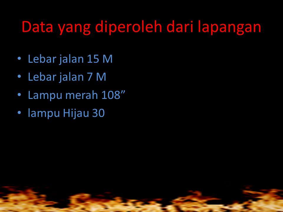 """Data yang diperoleh dari lapangan • Lebar jalan 15 M • Lebar jalan 7 M • Lampu merah 108"""" • lampu Hijau 30"""
