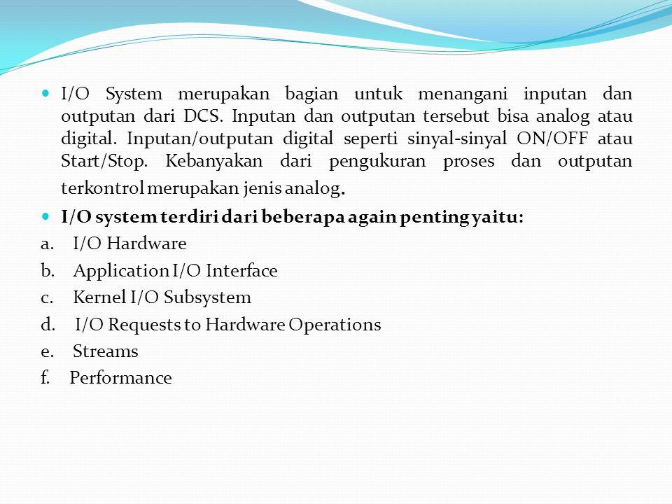  I/O System merupakan bagian untuk menangani inputan dan outputan dari DCS. Inputan dan outputan tersebut bisa analog atau digital. Inputan/outputan