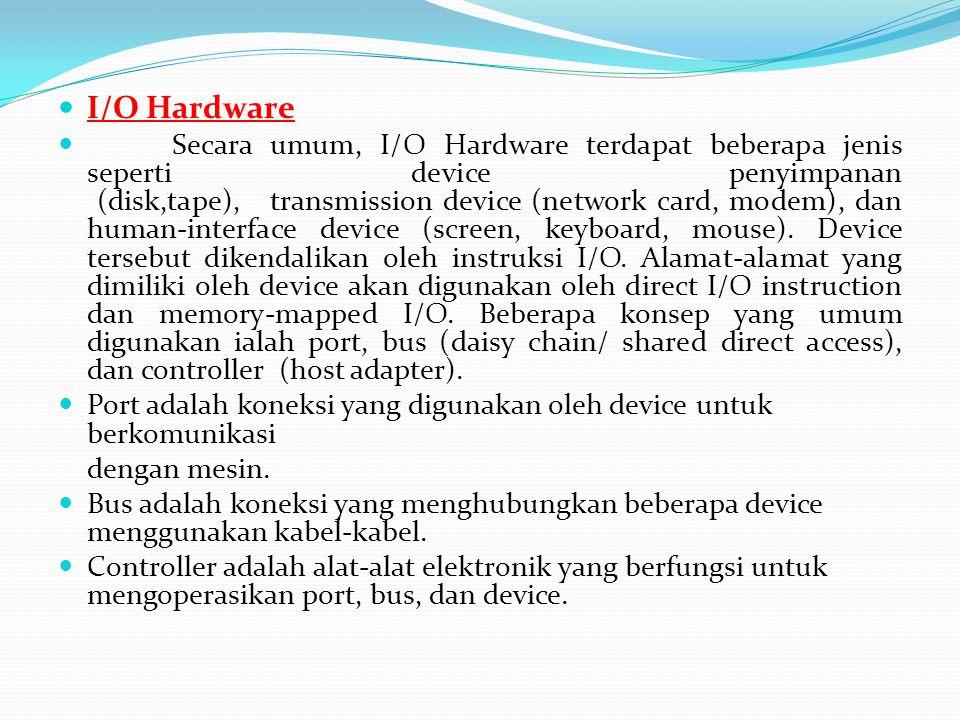  I/O Hardware  Secara umum, I/O Hardware terdapat beberapa jenis seperti device penyimpanan (disk,tape), transmission device (network card, modem),