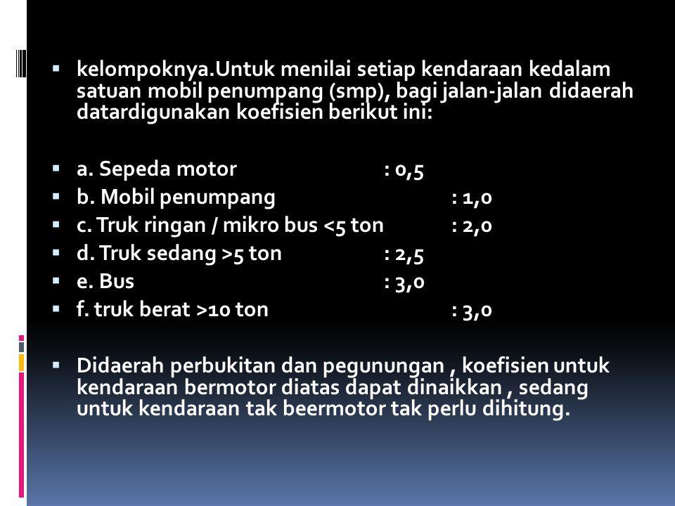  kelompoknya.Untuk menilai setiap kendaraan kedalam satuan mobil penumpang (smp), bagi jalan-jalan didaerah datardigunakan koefisien berikut ini:  a
