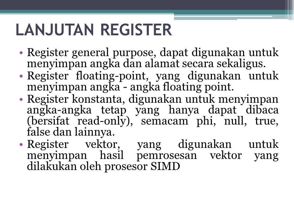 LANJUTAN REGISTER •Register special purpose, digunakan untuk menyimpan data internal prosesor, seperti halnya instruction pointer, stack pointer, dan status register.