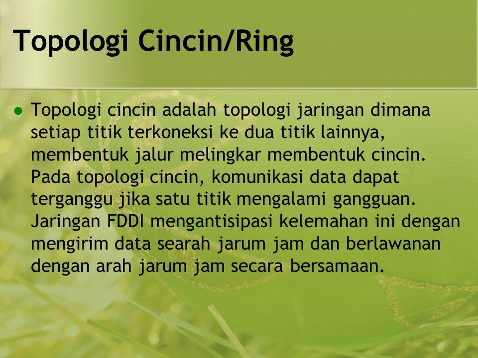 Topologi Cincin/Ring  Topologi cincin adalah topologi jaringan dimana setiap titik terkoneksi ke dua titik lainnya, membentuk jalur melingkar membentuk cincin.