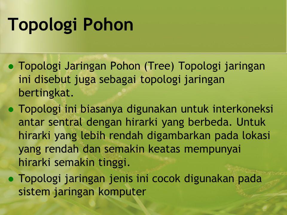 Topologi Pohon  Topologi Jaringan Pohon (Tree) Topologi jaringan ini disebut juga sebagai topologi jaringan bertingkat.  Topologi ini biasanya digun