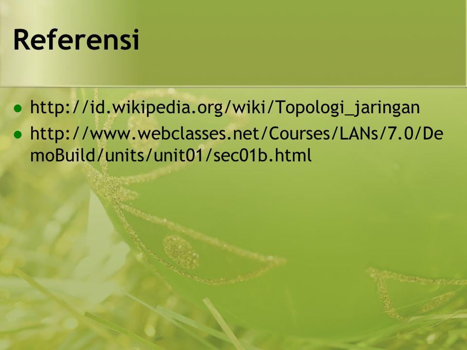 Referensi  http://id.wikipedia.org/wiki/Topologi_jaringan  http://www.webclasses.net/Courses/LANs/7.0/De moBuild/units/unit01/sec01b.html