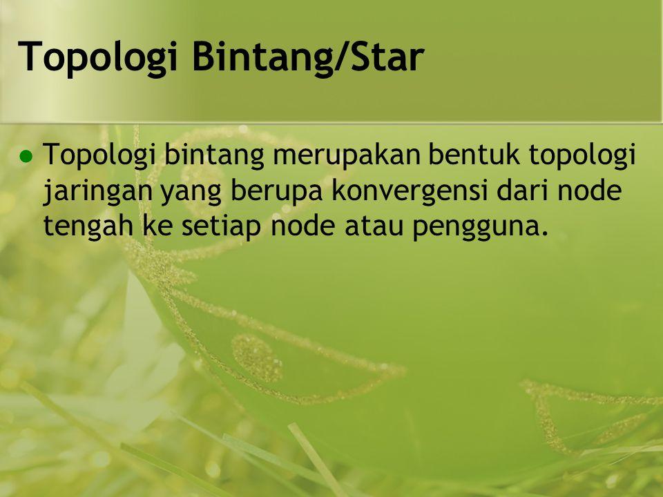 Topologi Bintang/Star  Topologi bintang merupakan bentuk topologi jaringan yang berupa konvergensi dari node tengah ke setiap node atau pengguna.