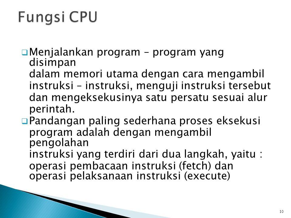  Menjalankan program – program yang disimpan dalam memori utama dengan cara mengambil instruksi – instruksi, menguji instruksi tersebut dan mengeksek