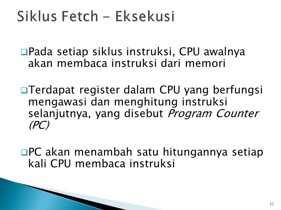  Pada setiap siklus instruksi, CPU awalnya akan membaca instruksi dari memori  Terdapat register dalam CPU yang berfungsi mengawasi dan menghitung i