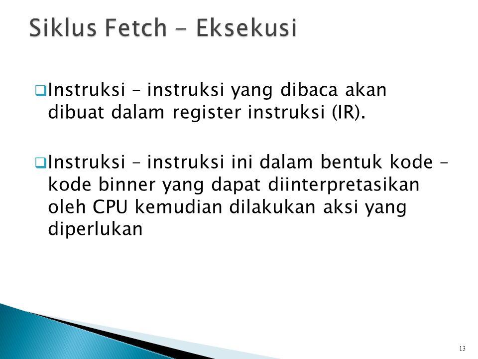  Instruksi – instruksi yang dibaca akan dibuat dalam register instruksi (IR).  Instruksi – instruksi ini dalam bentuk kode – kode binner yang dapat