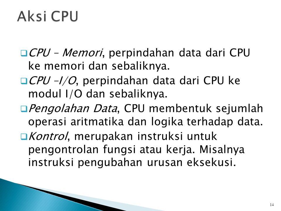  CPU – Memori, perpindahan data dari CPU ke memori dan sebaliknya.  CPU –I/O, perpindahan data dari CPU ke modul I/O dan sebaliknya.  Pengolahan Da