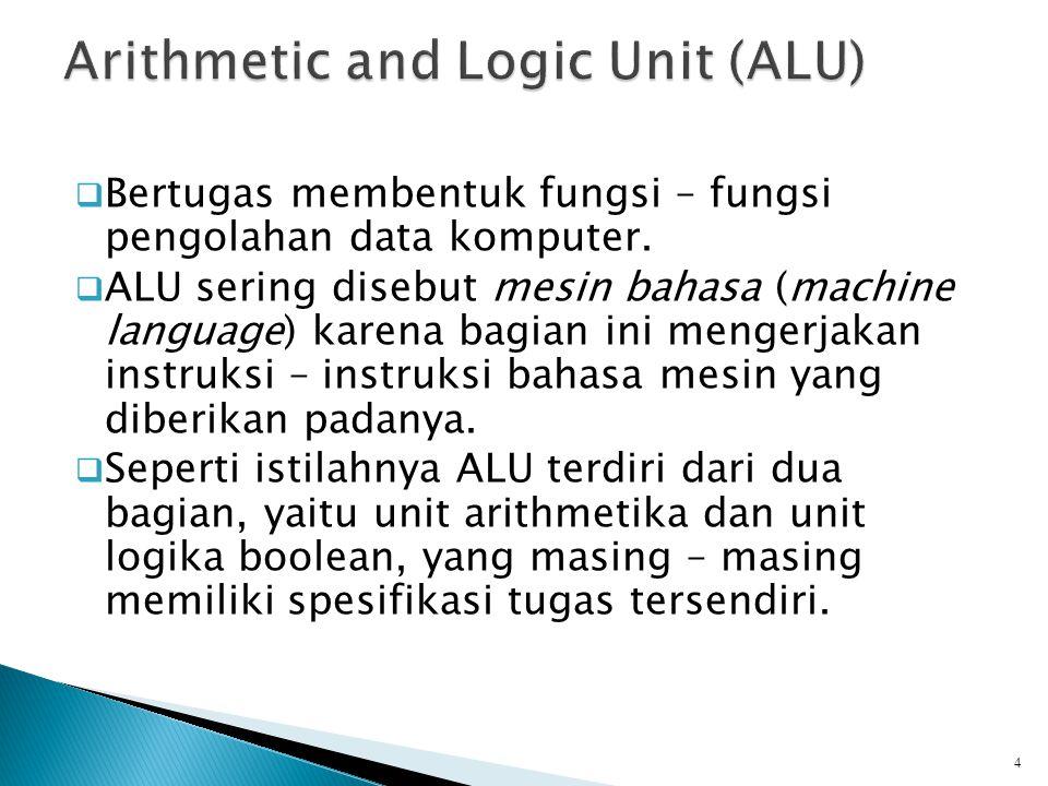  Bertugas membentuk fungsi – fungsi pengolahan data komputer.  ALU sering disebut mesin bahasa (machine language) karena bagian ini mengerjakan inst