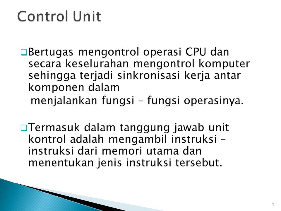  Bertugas mengontrol operasi CPU dan secara keselurahan mengontrol komputer sehingga terjadi sinkronisasi kerja antar komponen dalam menjalankan fung