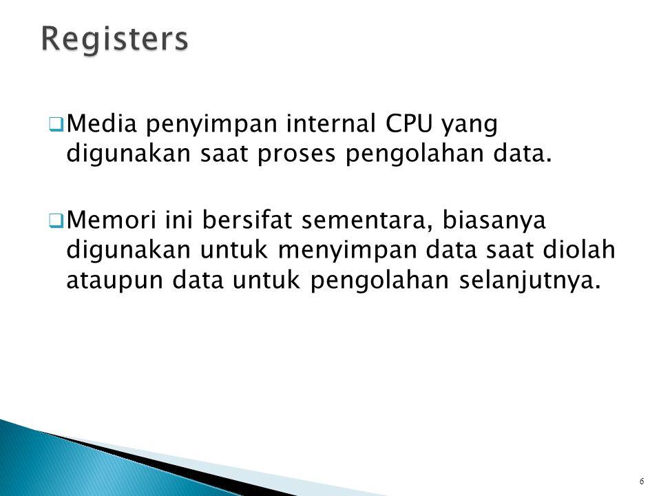  Media penyimpan internal CPU yang digunakan saat proses pengolahan data.  Memori ini bersifat sementara, biasanya digunakan untuk menyimpan data sa