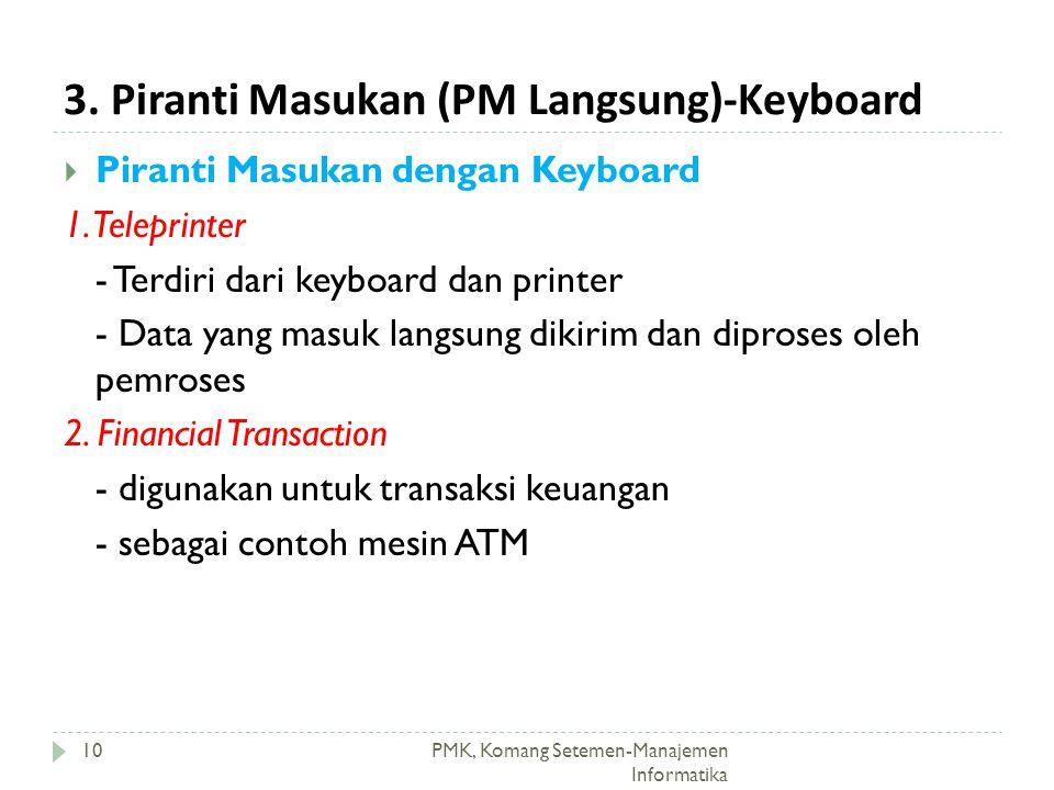 3. Piranti Masukan (PM Langsung)-Keyboard PMK, Komang Setemen-Manajemen Informatika  Piranti Masukan dengan Keyboard 1. Teleprinter - Terdiri dari ke