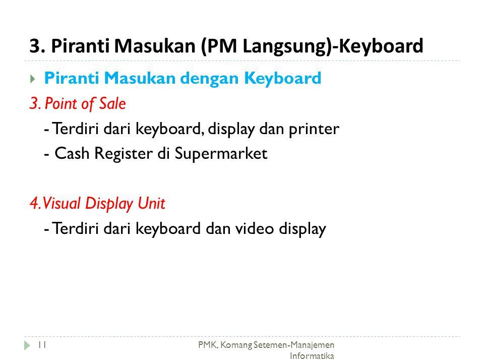 3. Piranti Masukan (PM Langsung)-Keyboard PMK, Komang Setemen-Manajemen Informatika  Piranti Masukan dengan Keyboard 3. Point of Sale - Terdiri dari
