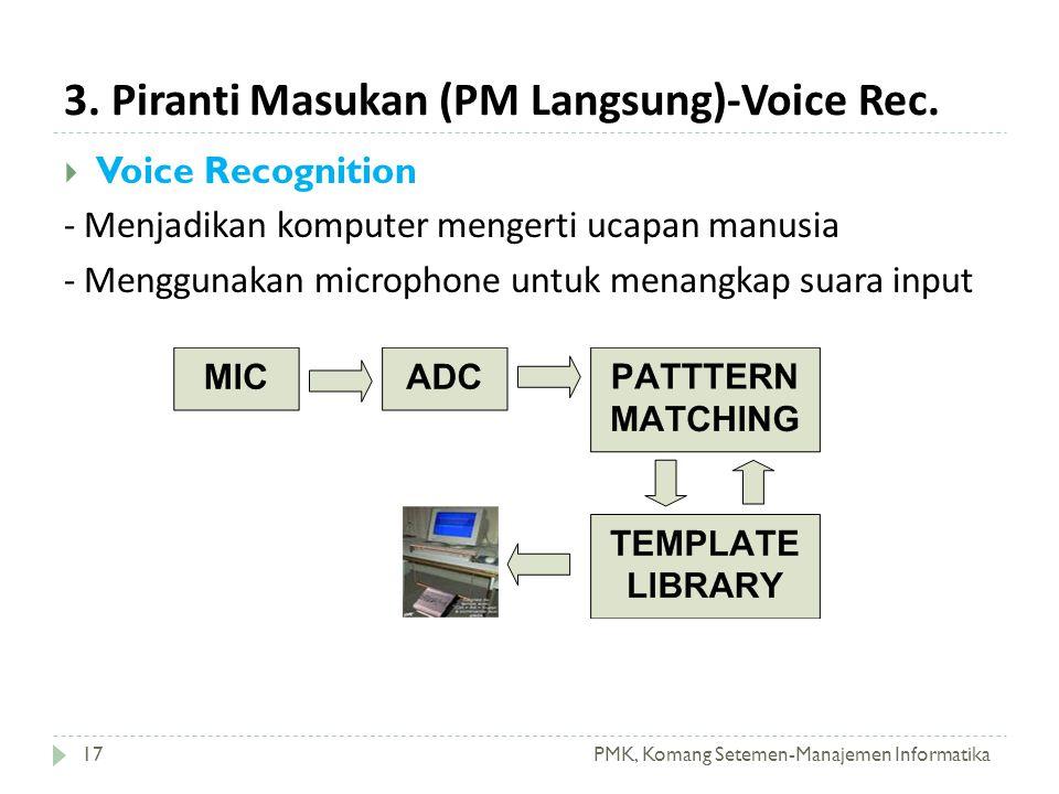 3. Piranti Masukan (PM Langsung)-Voice Rec. PMK, Komang Setemen-Manajemen Informatika17  Voice Recognition - Menjadikan komputer mengerti ucapan manu