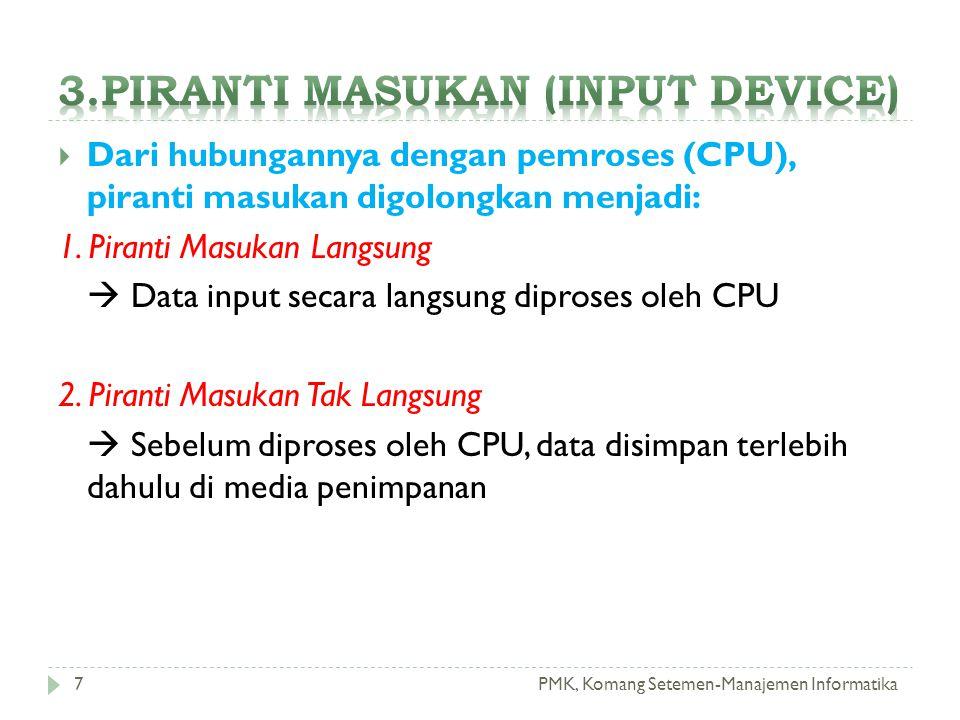 PMK, Komang Setemen-Manajemen Informatika  Dari hubungannya dengan pemroses (CPU), piranti masukan digolongkan menjadi: 1. Piranti Masukan Langsung 