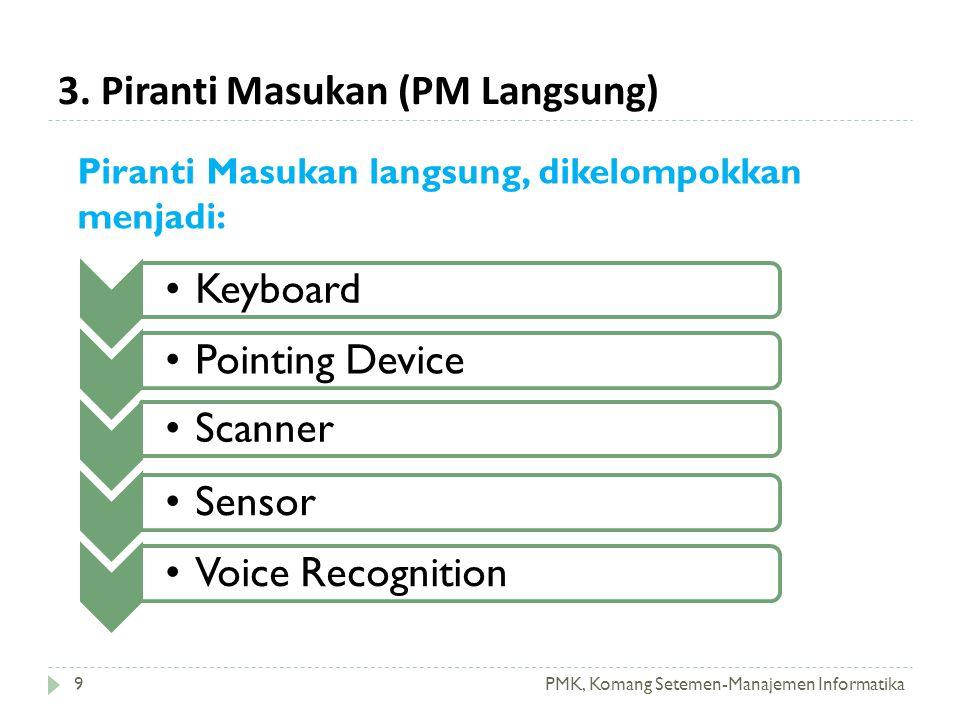 3. Piranti Masukan (PM Langsung) PMK, Komang Setemen-Manajemen Informatika •Keyboard•Pointing Device•Scanner•Sensor•Voice Recognition Piranti Masukan