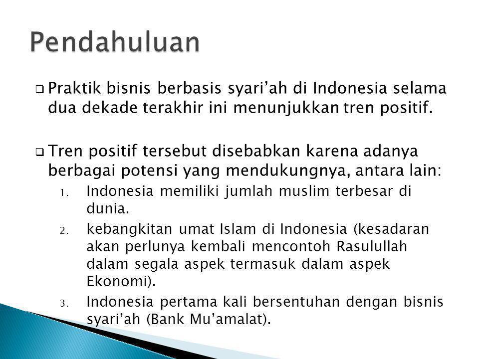  Praktik bisnis berbasis syari'ah di Indonesia selama dua dekade terakhir ini menunjukkan tren positif.  Tren positif tersebut disebabkan karena ada