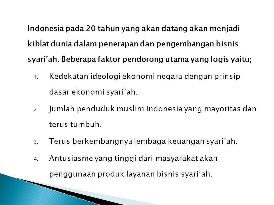 Indonesia pada 20 tahun yang akan datang akan menjadi kiblat dunia dalam penerapan dan pengembangan bisnis syari'ah. Beberapa faktor pendorong utama y