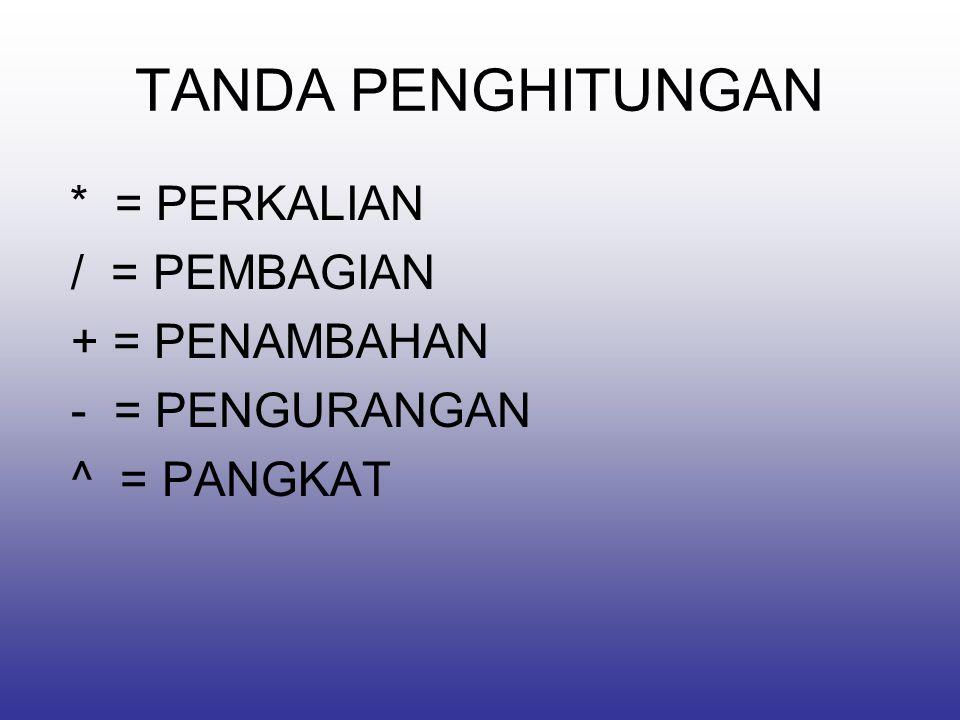 TANDA PENGHITUNGAN * = PERKALIAN / = PEMBAGIAN + = PENAMBAHAN - = PENGURANGAN ^ = PANGKAT