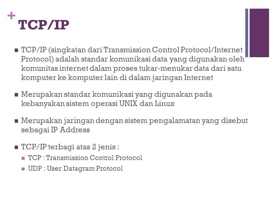 + TCP/IP  TCP/IP (singkatan dari Transmission Control Protocol/Internet Protocol) adalah standar komunikasi data yang digunakan oleh komunitas internet dalam proses tukar-menukar data dari satu komputer ke komputer lain di dalam jaringan Internet  Merupakan standar komunikasi yang digunakan pada kebanyakan sistem operasi UNIX dan Linux  Merupakan jaringan dengan sistem pengalamatan yang disebut sebagai IP Address  TCP/IP terbagi atas 2 jenis :  TCP : Transmission Control Protocol  UDP : User Datagram Protocol