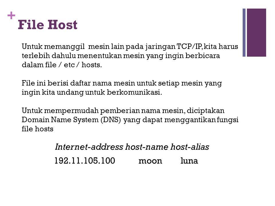 + File Host Untuk memanggil mesin lain pada jaringan TCP/IP, kita harus terlebih dahulu menentukan mesin yang ingin berbicara dalam file / etc / hosts.