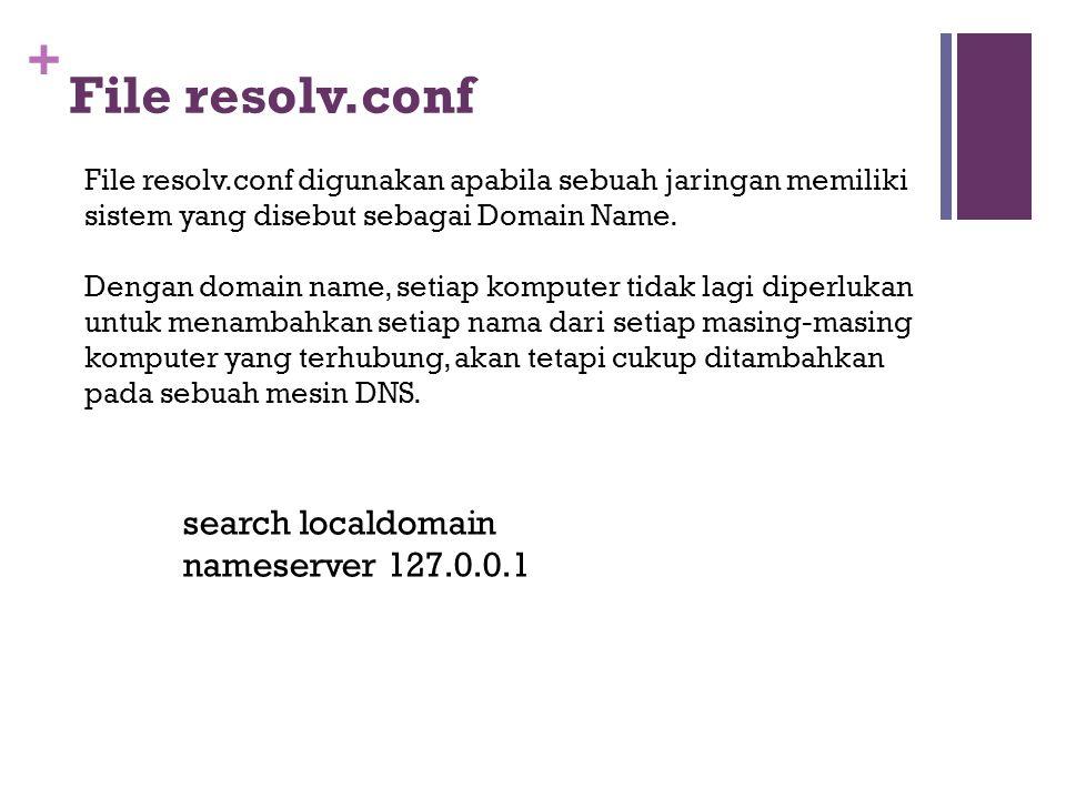 + File resolv.conf File resolv.conf digunakan apabila sebuah jaringan memiliki sistem yang disebut sebagai Domain Name. Dengan domain name, setiap kom