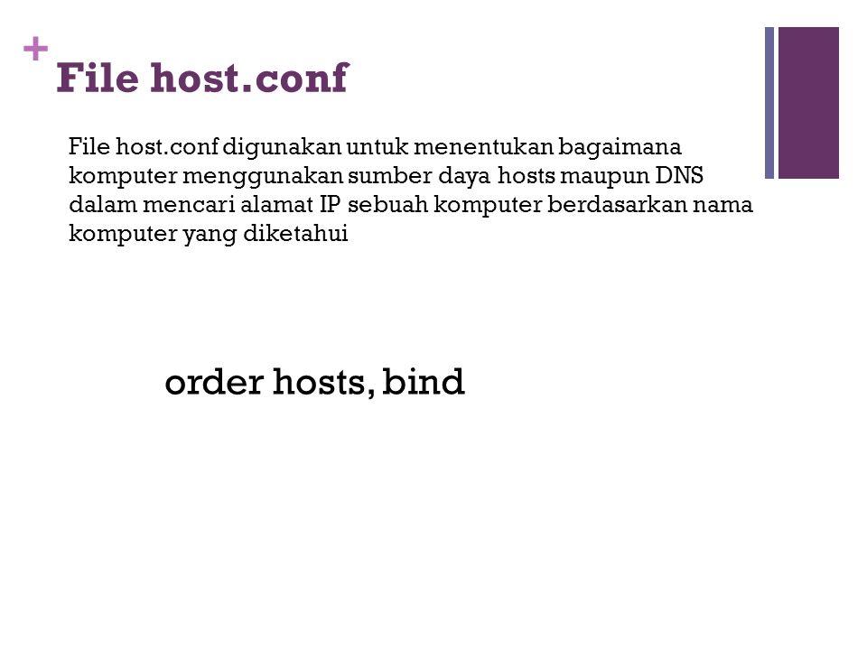 + File host.conf File host.conf digunakan untuk menentukan bagaimana komputer menggunakan sumber daya hosts maupun DNS dalam mencari alamat IP sebuah komputer berdasarkan nama komputer yang diketahui order hosts, bind