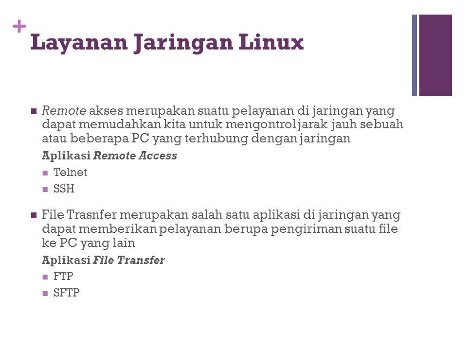+ Layanan Jaringan Linux  Remote akses merupakan suatu pelayanan di jaringan yang dapat memudahkan kita untuk mengontrol jarak jauh sebuah atau beber