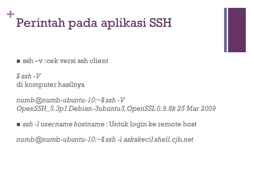 + Perintah pada aplikasi SSH  ssh –v :cek versi ssh client $ ssh -V di komputer hasilnya numb@numb-ubuntu-10:~$ ssh -V OpenSSH_5.3p1 Debian-3ubuntu3, OpenSSL 0.9.8k 25 Mar 2009  ssh -l username hostname : Untuk login ke remote host numb@numb-ubuntu-10:~$ ssh -l azkakecil shell.cjb.net