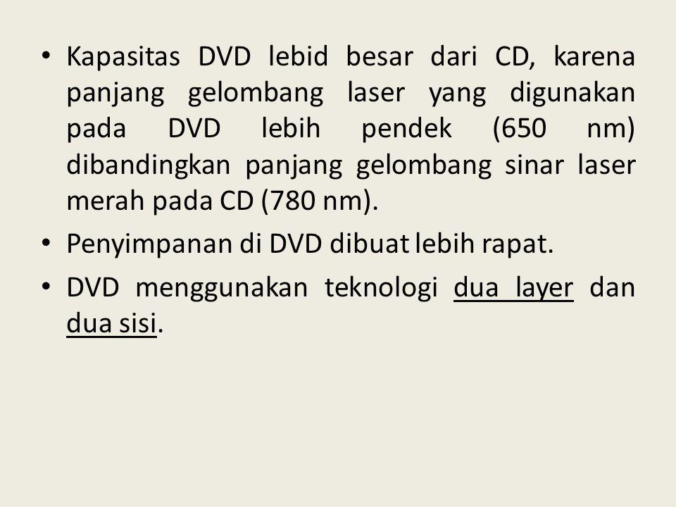 • Kapasitas DVD lebid besar dari CD, karena panjang gelombang laser yang digunakan pada DVD lebih pendek (650 nm) dibandingkan panjang gelombang sinar