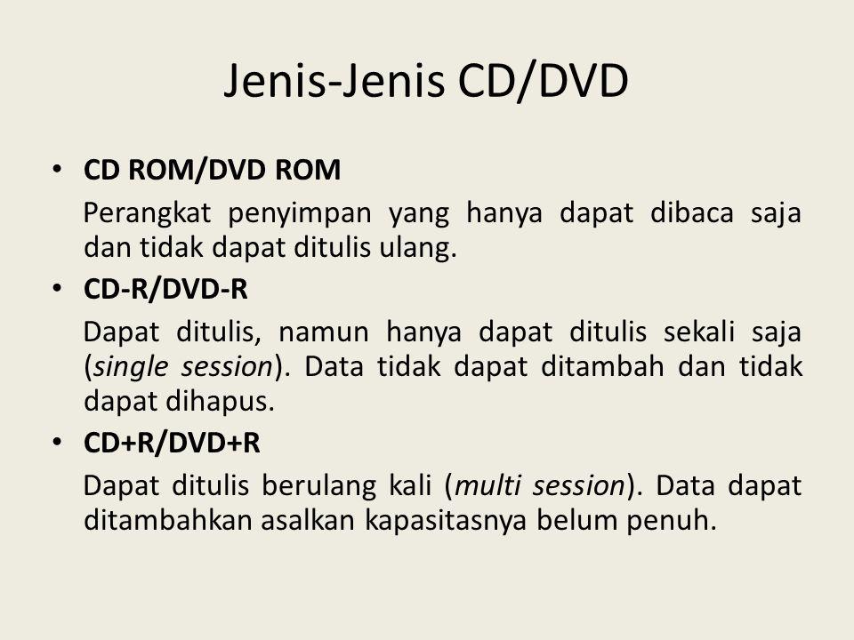 Jenis-Jenis CD/DVD • CD ROM/DVD ROM Perangkat penyimpan yang hanya dapat dibaca saja dan tidak dapat ditulis ulang. • CD-R/DVD-R Dapat ditulis, namun