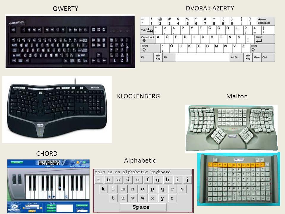 QWERTY DVORAK AZERTY KLOCKENBERGMalton CHORD Alphabetic