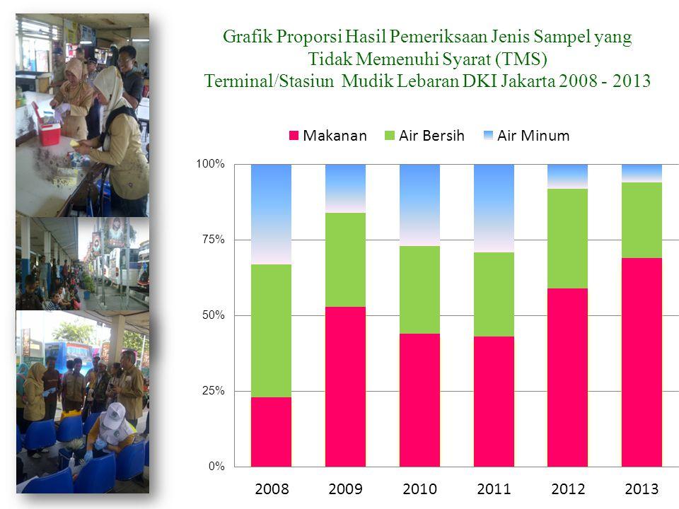 Grafik Proporsi Hasil Pemeriksaan Jenis Sampel yang Tidak Memenuhi Syarat (TMS) Terminal/Stasiun Mudik Lebaran DKI Jakarta 2008 - 2013