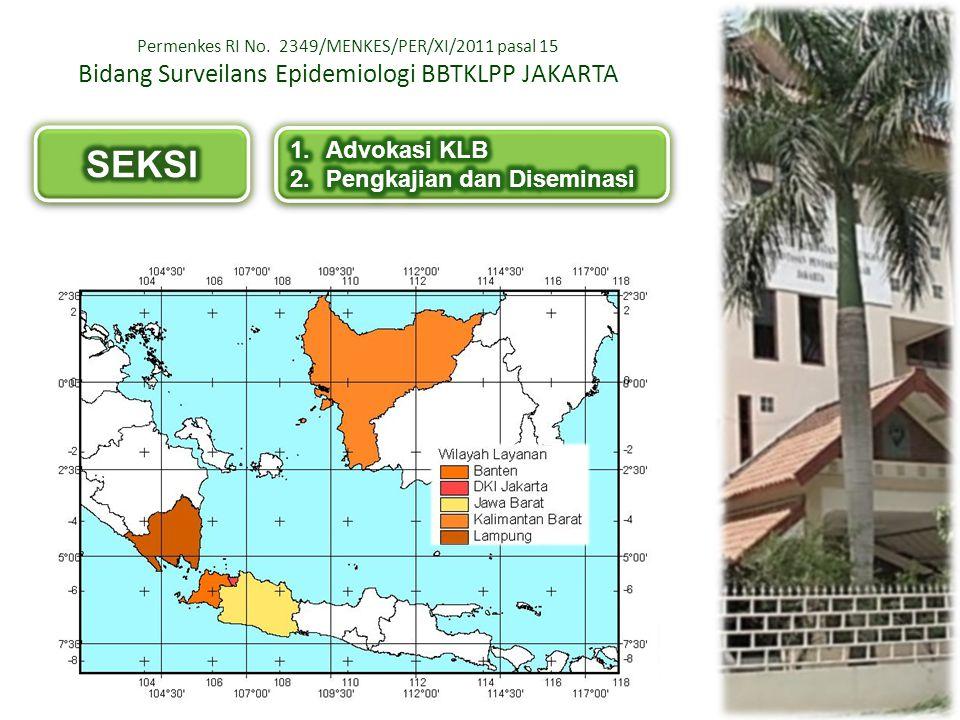 Permenkes RI No. 2349/MENKES/PER/XI/2011 pasal 15 Bidang Surveilans Epidemiologi BBTKLPP JAKARTA