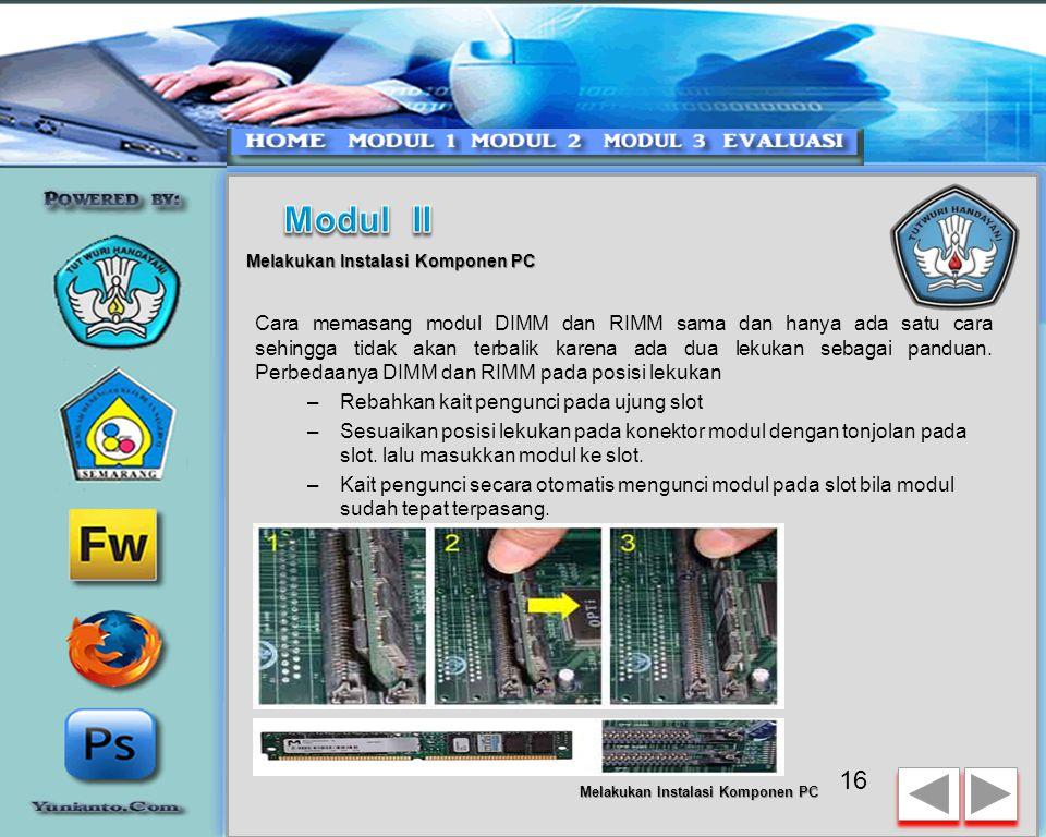 15 Melakukan Instalasi Komponen PC Jenis DIMM dan RIMM