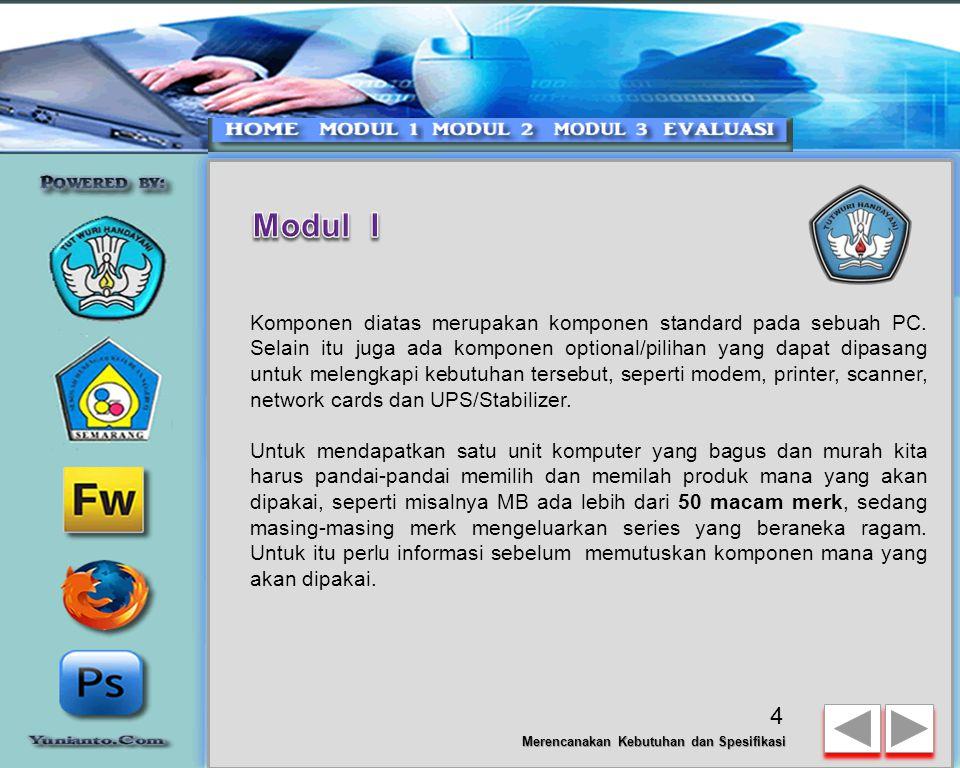 Merencanakan Kebutuhan dan Spesifikasi KOMPONEN YANG TERPASANG PADA KOMPUTER Sebuah komputer merupakan gabungan dari 13 komponen dimana satu sama lain
