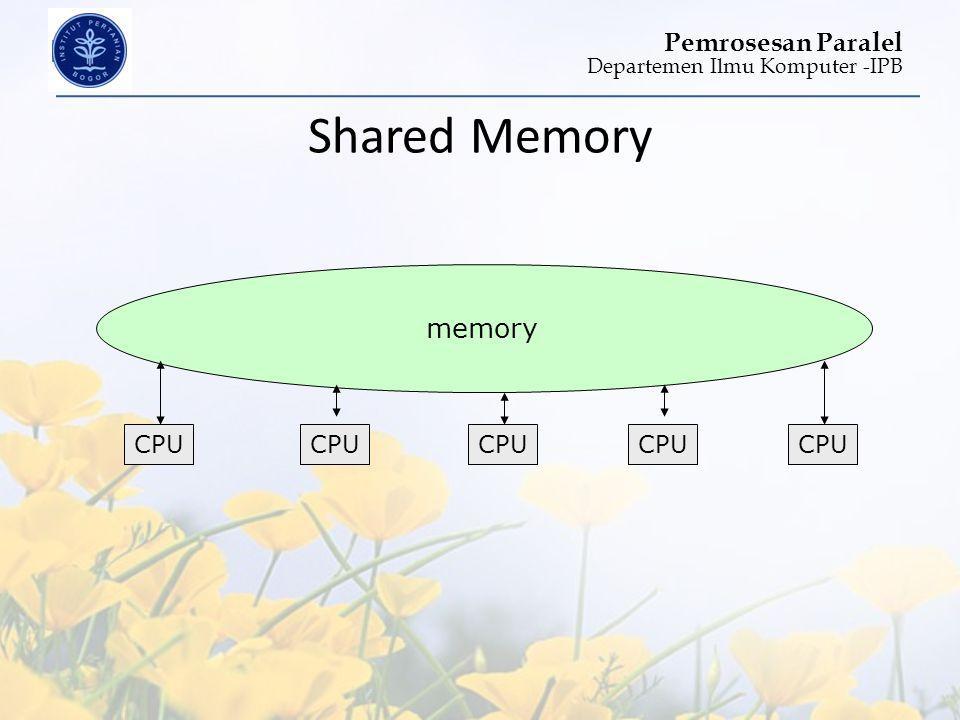 Departemen Ilmu Komputer -IPB Pemrosesan Paralel Shared Memory CPU memory CPU