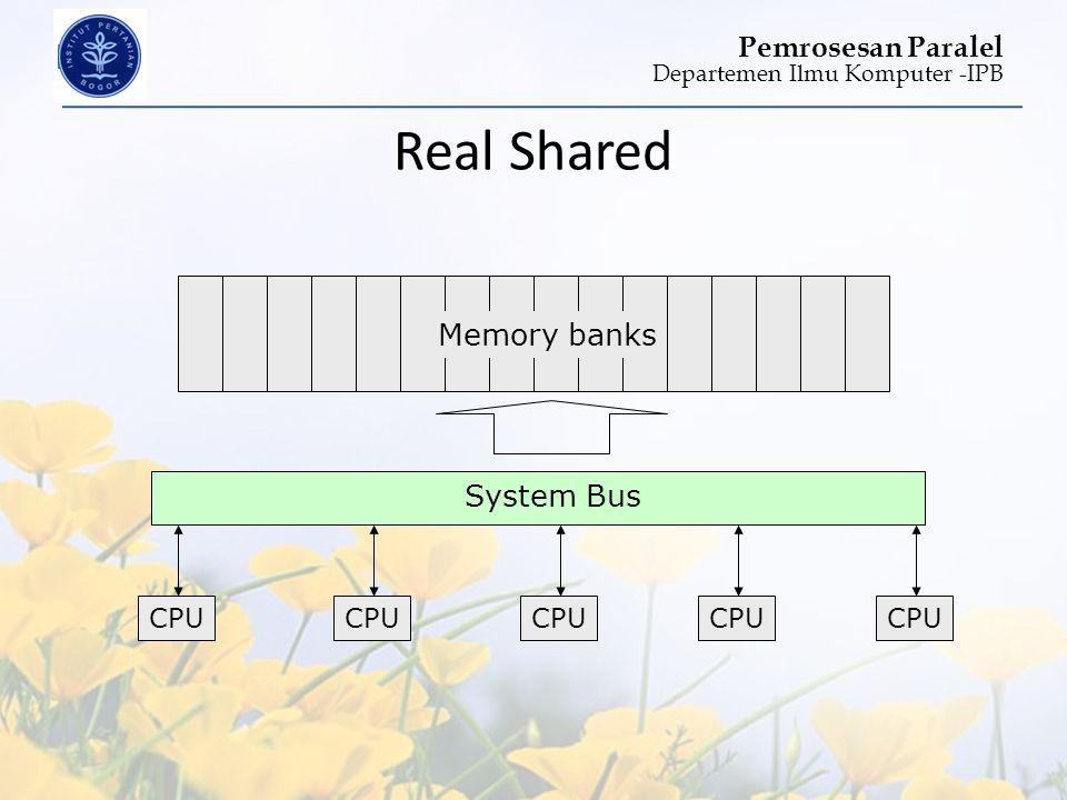 Departemen Ilmu Komputer -IPB Pemrosesan Paralel Real Shared CPU System Bus Memory banks