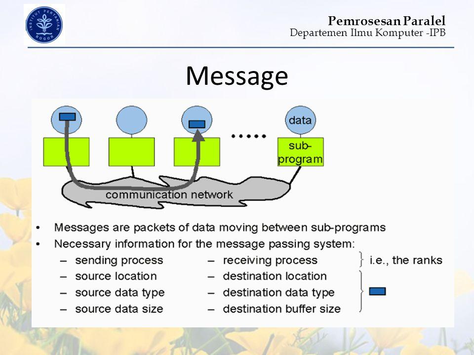 Departemen Ilmu Komputer -IPB Pemrosesan Paralel Message