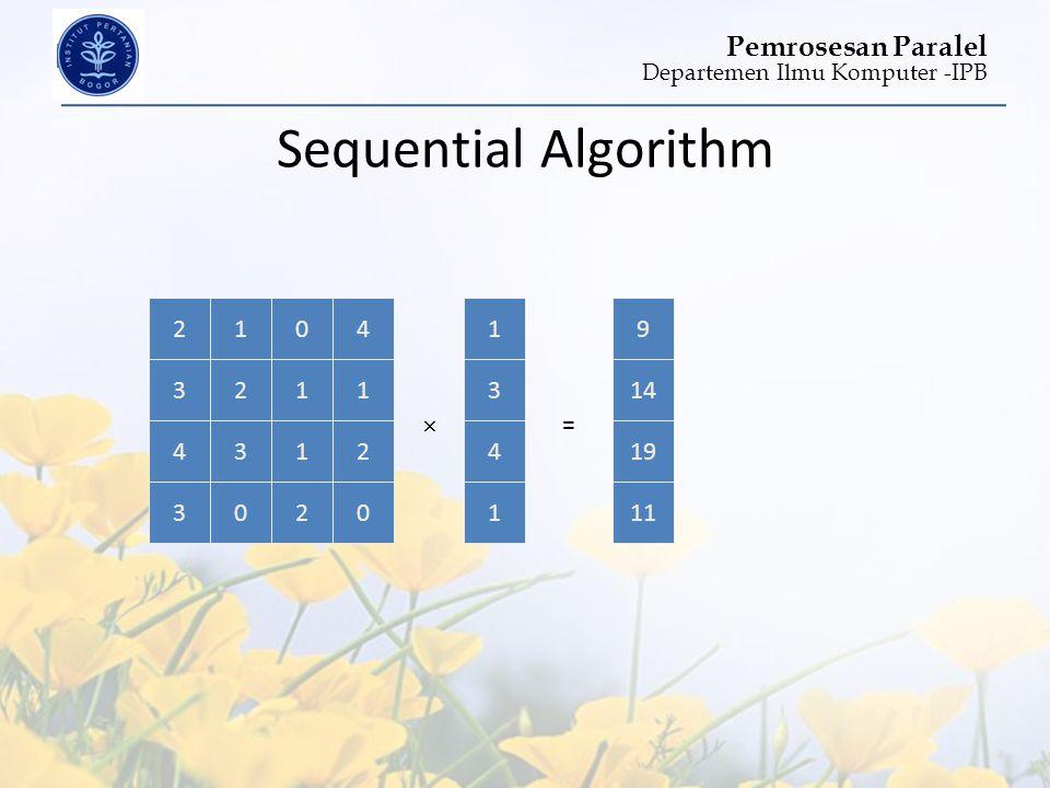 Departemen Ilmu Komputer -IPB Pemrosesan Paralel 2104 3211 4312 3020 1 3 4 1 =  Sequential Algorithm 22150 4 1 3 594 1 921041 3 4 1 33 1923131 4 141