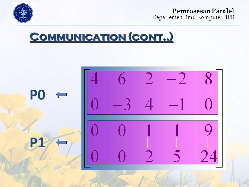 Departemen Ilmu Komputer -IPB Pemrosesan Paralel Communication (cont..) P0 P1