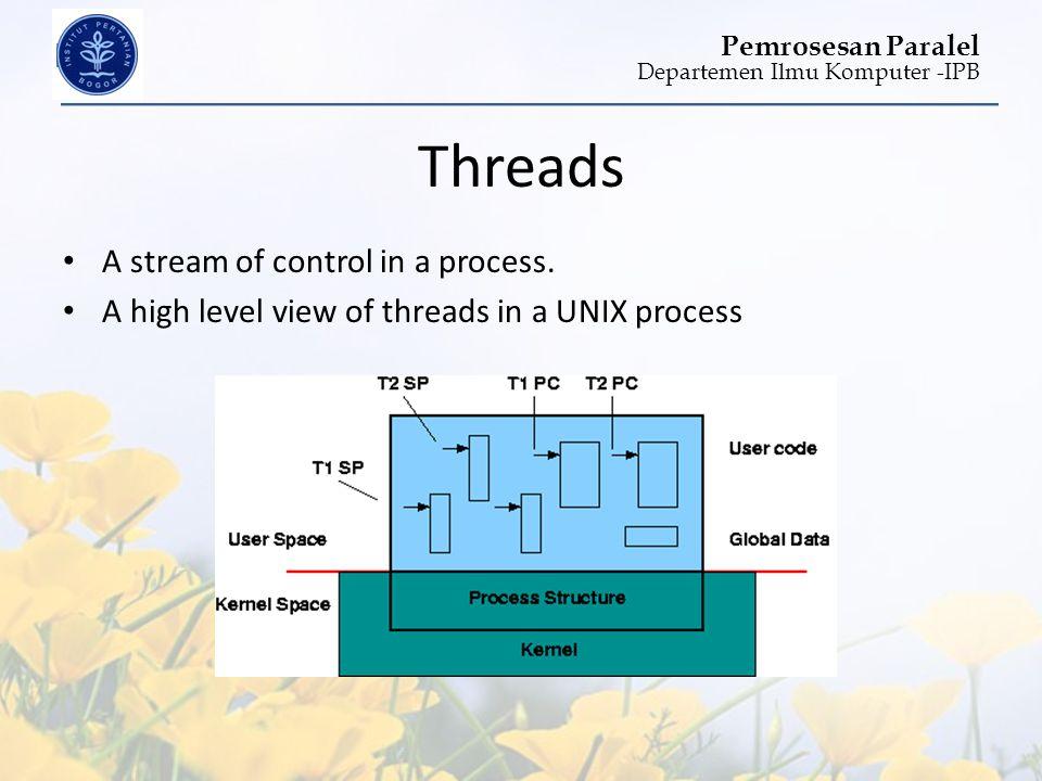 Departemen Ilmu Komputer -IPB Pemrosesan Paralel Threads • A stream of control in a process. • A high level view of threads in a UNIX process