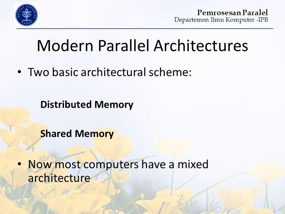 Departemen Ilmu Komputer -IPB Pemrosesan Paralel Modern Parallel Architectures • Two basic architectural scheme: Distributed Memory Shared Memory • No