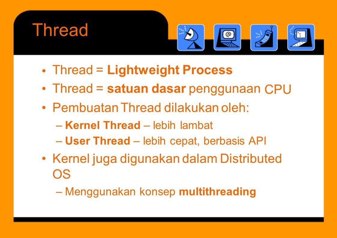 Thread = Lightweight Process Thread = satuan dasar penggunaan •••• CPU – Kernel Thread – lebih lambat – User Thread – lebih cepat, berbasis API OS – M